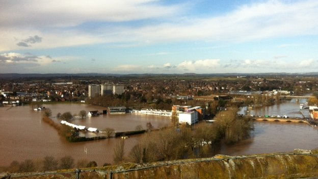 The BBC's Sian Lloyd sent this photo from the top of Worcester Cathedral