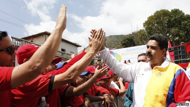 Venezuela's President Nicolas Maduro attends an event to celebrate Youth Day in La Victoria on 12 February, 2014