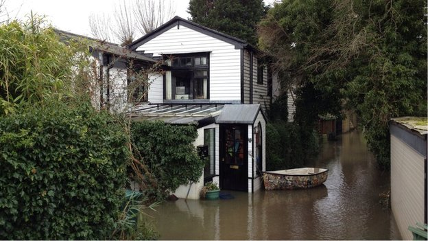 Sally Pemberton's flooded house in Shepperton