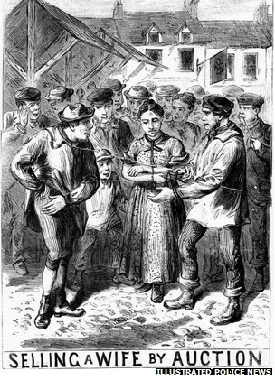 Wife auction drawing which appeared in the Illustrated Police News in 1870.