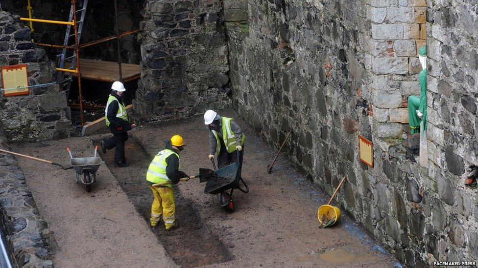 Excavation work at Carrickfergus Castle