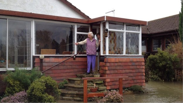 Alison Spooner in her home on the flooded Towpath in Shepperton