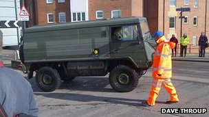 Army vehicle in Worcester