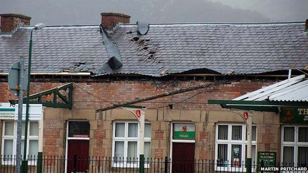 The roof at Porthmadog station was damaged by the strong winds