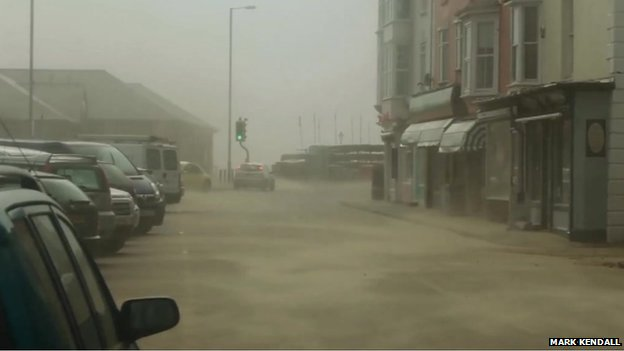 Sand blowing in street at Aberdovey, Gwynedd