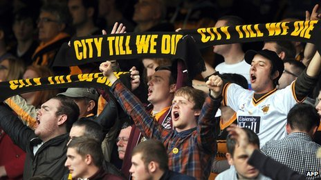 Hull City supporters protest against the changing of the club's name to Hull City Tigers during a match between Everton and Hull City (file photo)
