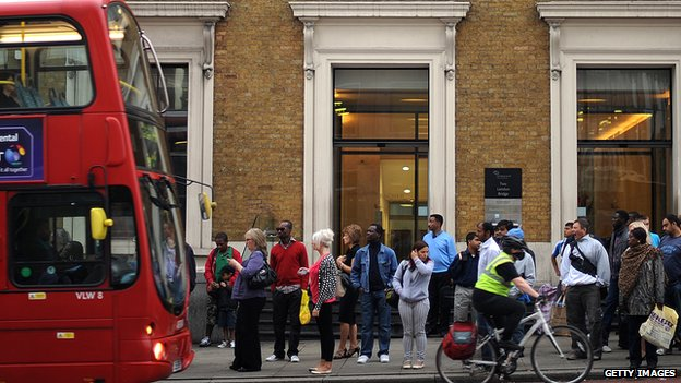 Queue for a bus in London
