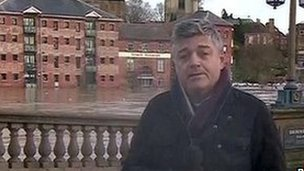 BBC reporter Phil Mackie by the River Severn in Worcester