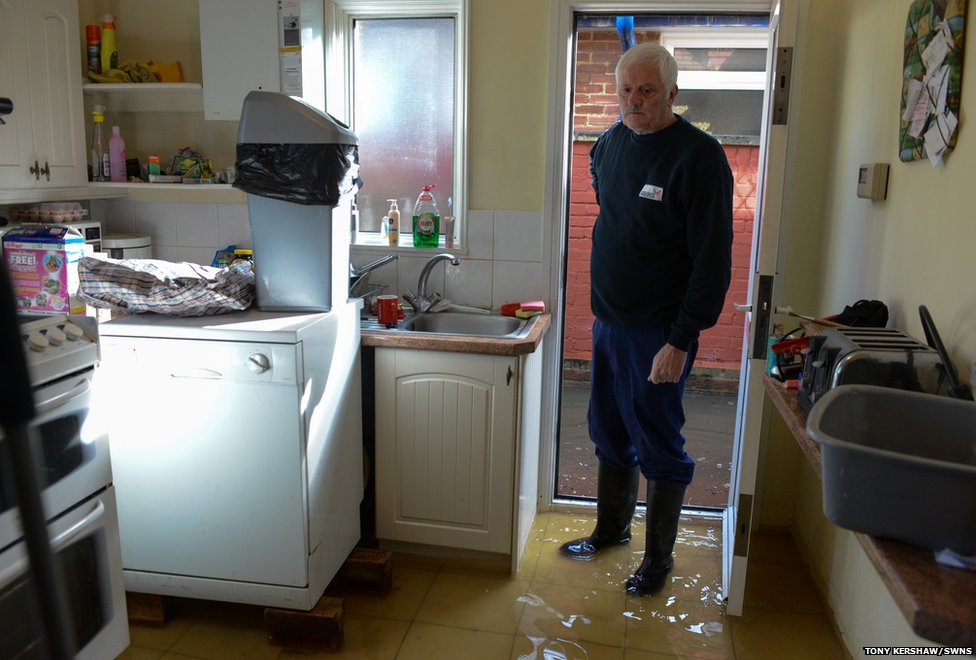 Egham resident Michael Simmonds has lived in this house since he was six years old and this is the first time it has been flooded.
