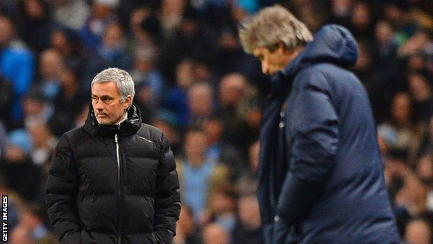 Manuel Pellegrini (right) and Jose Mourinho