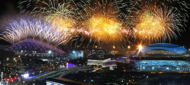 Fireworks light up the opening ceremony