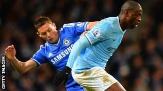Chelsea's Nemanja Matic tackles of Manchester City's Yaya Toure
