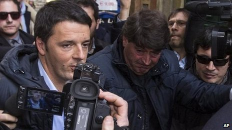 Matteo Renzi arriving at Thursday's meeting