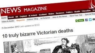 "Previous Magazine headline: ""10 Truly bizarre Victorian deaths"""