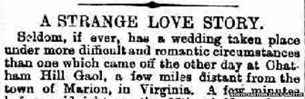 "Clip from Newspaper piece reading: ""A strange love story"""