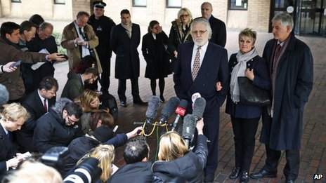 Dave Lee Travis and his wife Marianne outside Southwark Crown Court