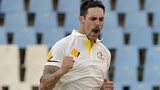 Australian bowler Mitchell Johnson celebrates taking a wicket against South Africa
