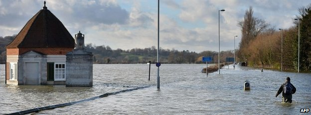 A flooded road in Runnymede, south-west of London