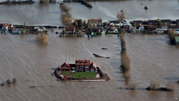 A house in the flooded village of Moorland in Somerset