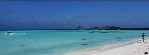 A beach with white sand