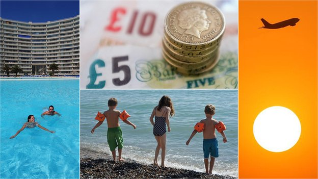Four pictures - people in a pool, British money, children on a beach, a plane taking off