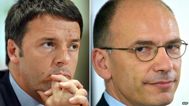 Florence Mayor Matteo Renzi (left, December 2013) and recently-resigned Italian Prime Minister Enrico Letta  (June 2013)