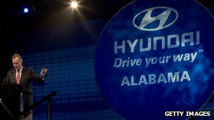Go your way Hyundai Alabama sign with person speaking
