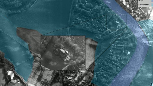 Images taken by the RAF to pinpoint houses that need assistance