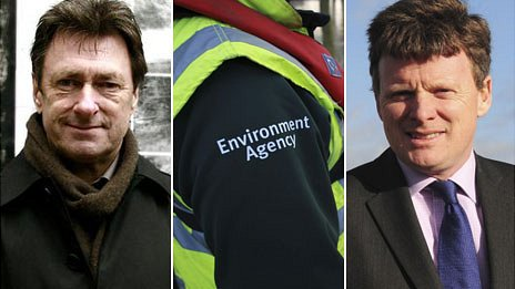 Composite image of Alan Titchmarsh, an Environment Agency jacket an Richard Benyon