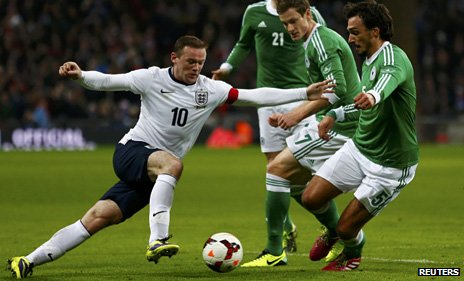 Wayne Rooney in action for England against Germany