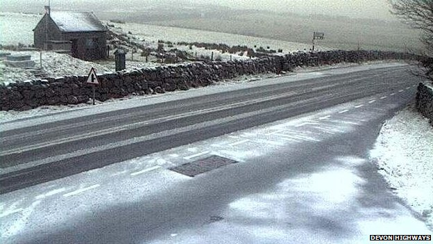 Snow on Dartmoor. Pic: Devon Highways