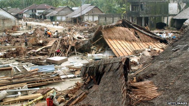 File photo: Houses lie destroyed at Sirombu village in Nias, North Sumatra, Indonesia, 29 December 2004