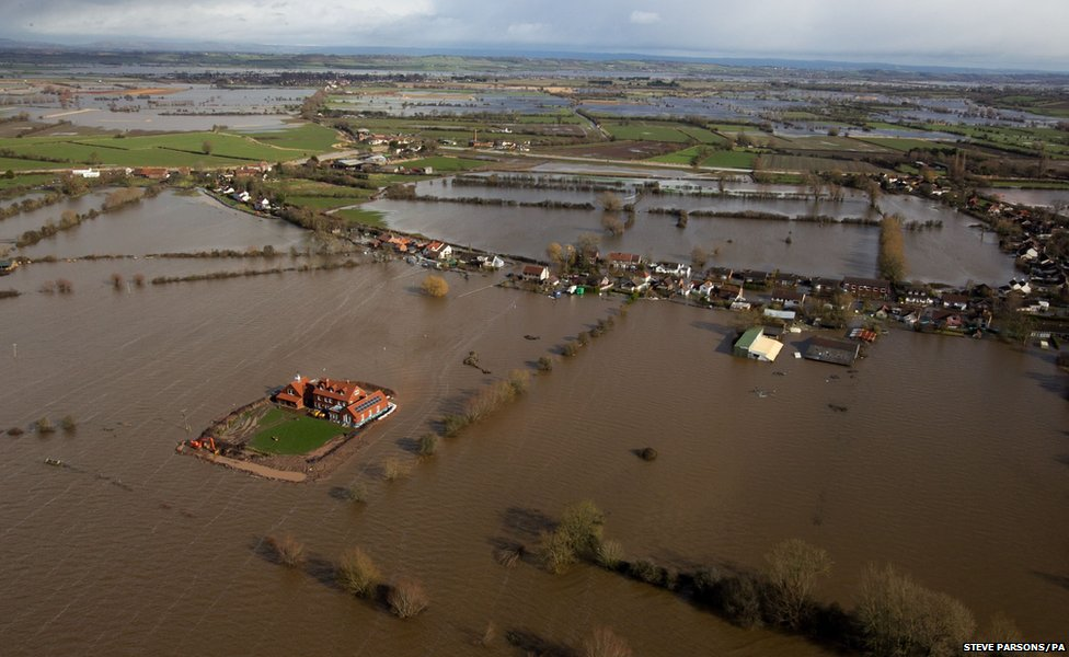 Flooded village of Moorland in Somerset