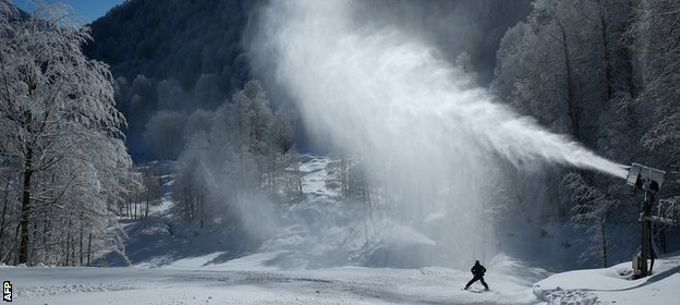 A snow-making machine on the Rosa Khutor ski mountain ahead in Sochi