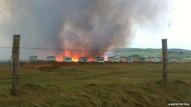 Borth bog fire - photo by @abercentral