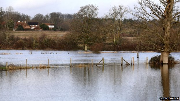 Flooded fields are pictured at Arborfield in Hampshire