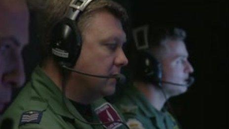 RAF sergeant Chris Bradbury controlling the plane mid-flight