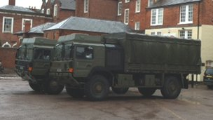 Army vehicles at the Shire Hall in Hereford