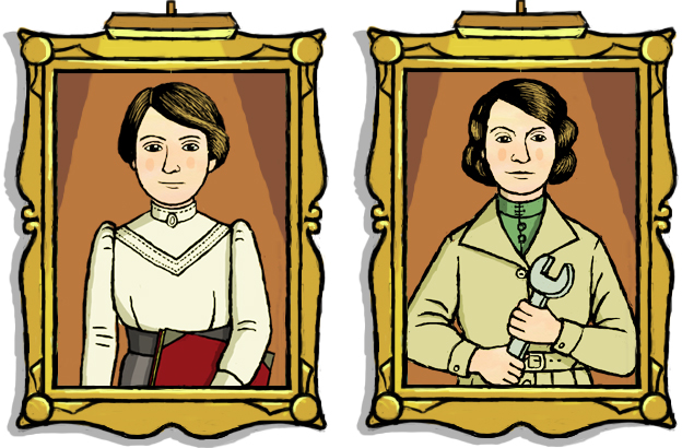 Two illustrated portraits of Caroline Haslett before and during the war