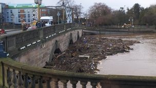 Flood debris trapped under the bridge