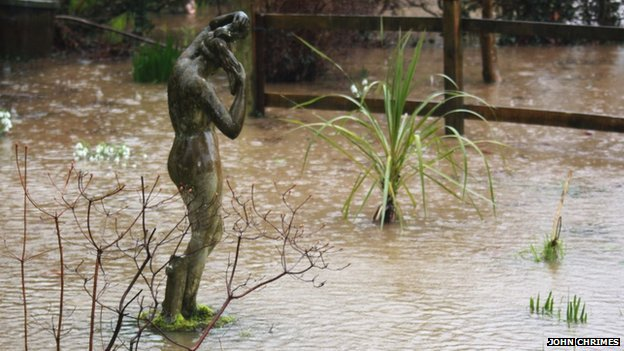 Flooded garden in Ashburton. Pic: John Chrimes