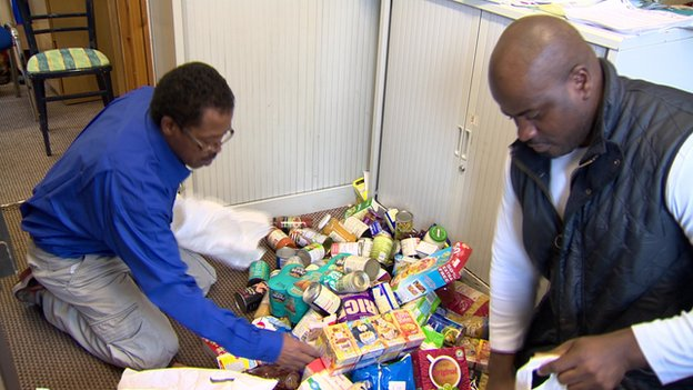 Sorting through donated food