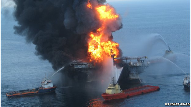 US Coast Guard file image released on April 22, 2010 shows fire boat response crews as they battle the blazing remnants of the off shore oil rig Deepwater Horizon April 21, 2010
