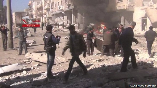 Aftermath of recent attack in Syrian town of Aleppo