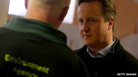 David Cameron speaking to Environment Agency staff in Taunton