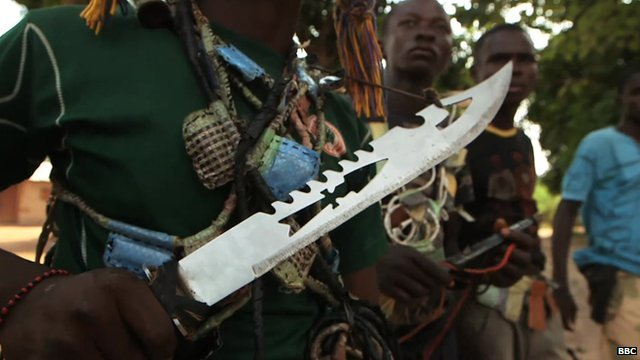 Close-up of a knife in the hand of a Christian militiaman in Boali, in the Central African Republic
