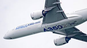 The Airbus A350 XWB development aircraft MSN3 at the Singapore airshow, Feb 2014