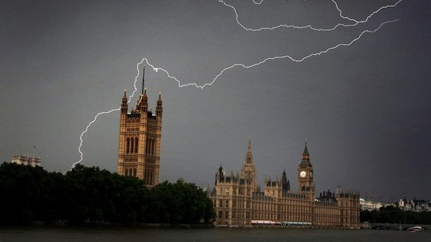 Lightning strikes Westminster