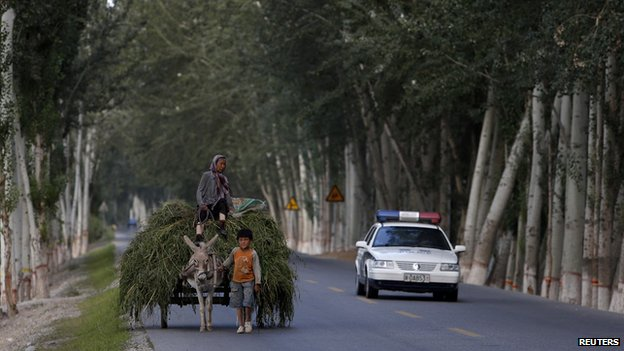 A boy leads a cart loaded with grass next to a passing police car in Aksu, Xinjiang Uighur Autonomous Region, China (18 July 2013)