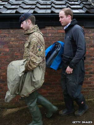 Prince William, Duke of Cambridge leaves a meeting with flood planners
